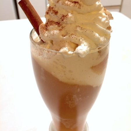 Spiked Apple Cider Float with cinnamon